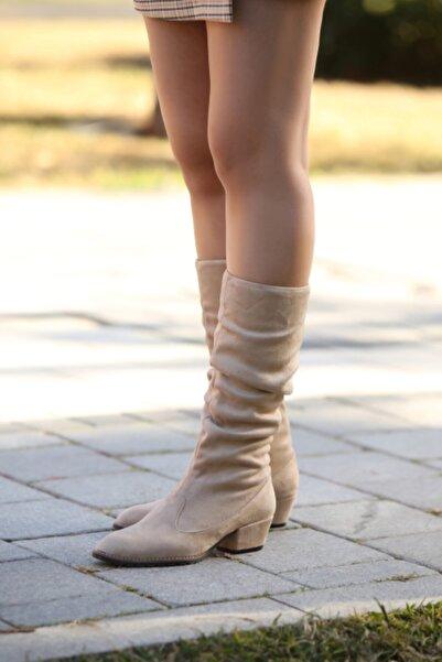 Gamze Shoes Kadın Krem Süet Bot