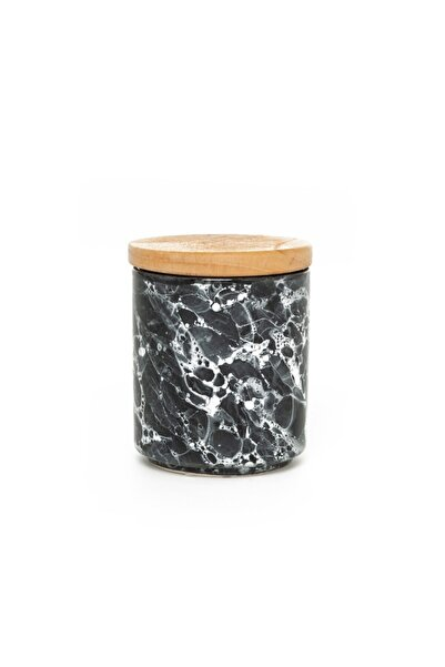 İpek Ahşap Kapaklı Kavanoz - Granit/10 Cm Srb502