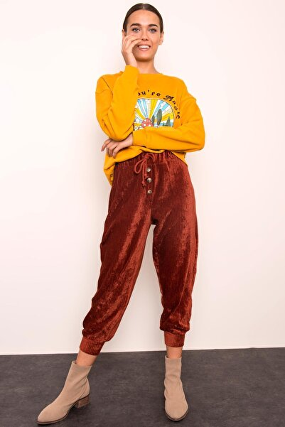 BSL Kadın Kiremit Bel Lastikli Paça Bant Detaylı Kadife Pantolon