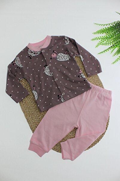 Breeze Koyun Desenli Puantiyeli Çıtçıt Kapamalı Pijama Takımı