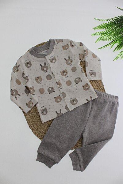 Breeze Ayı Desenli Çıtçıt Kapamalı Pijama Takımı