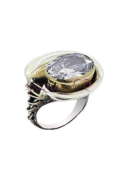 Söğütlü Silver Zirkon Taşlı Dikişli Otantik Yüzük