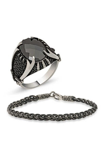 Gumush Erkek Gümüş Yüzük ve Kazaziye Bileklik Takı Kombin