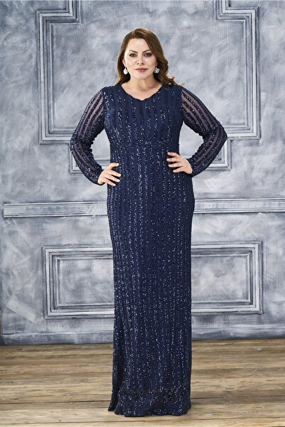 Lila Kadın Lacivert Şerit Pul Payet Detay Uzun Elbise 9138Bb