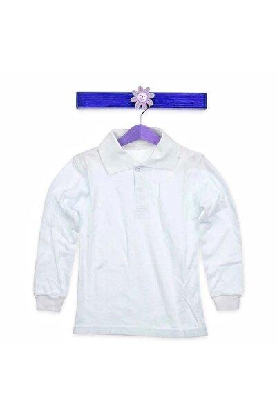 Nacar Çocuk Beyaz Uzun Kollu Lakos Tşört