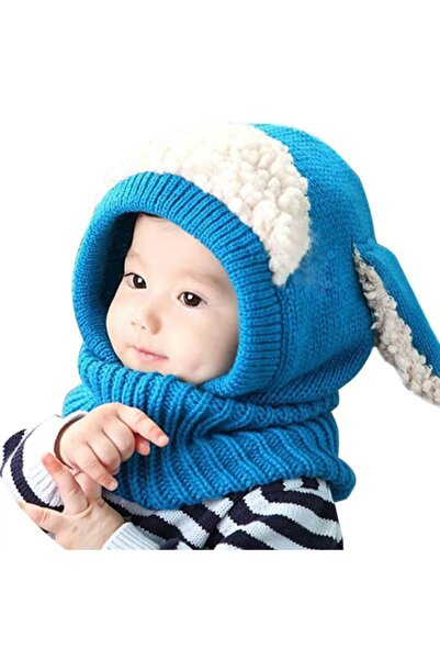 eliz kids Erkek Bebek Mavi Peluş Detaylı Yün Bere