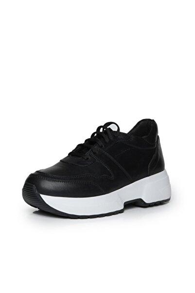 Beta Shoes Kadın Hakiki Deri Sneaker Spor Ayakkabı Siyah