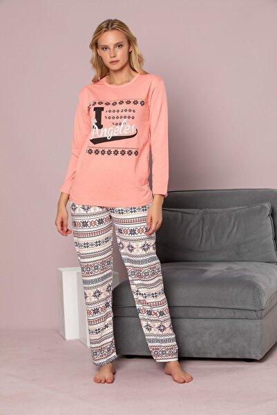 STRAWBERRY Kadın Kiremit Uzun Kollu Pamuklu Pijama Takimi