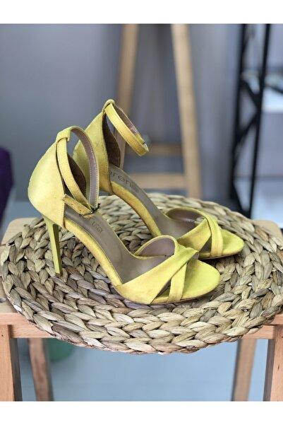 cerenstore Kadın Sarı Darya Çapraz Bant Süet Sandalet