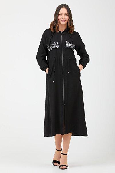 Sementa Kadın Siyah Pul Işlemeli Uzun Boy Tunik
