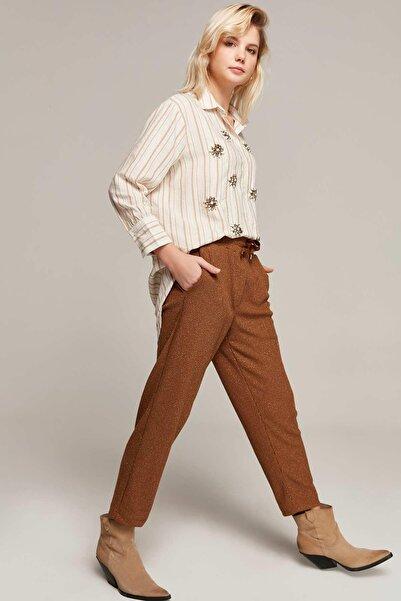 Y-London Kadın Taba Beli Lastikli Cepli Simli Pantolon