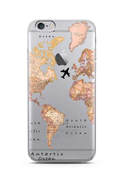 Spoyi Iphone 6s Transparan Harita Tasarım Süper Şeffaf Silikon Telefon Kılıfı