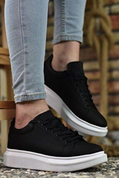 3D Baskılı Siyah Erkek Sneaker