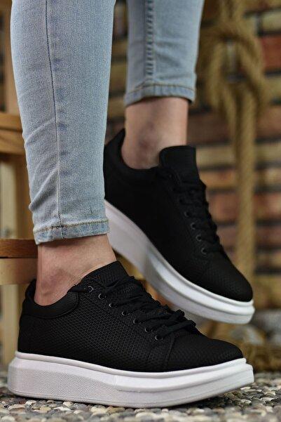Riccon 3D Baskılı Siyah Erkek Sneaker