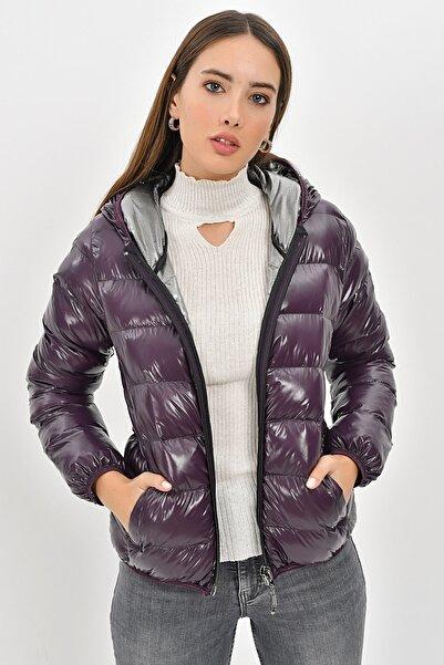 Icon Kadın Mürdüm Şişme Mont Kışlık 5522