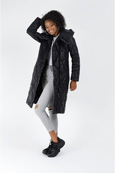 Icon Kadın Siyah Kapitone Mont 5514