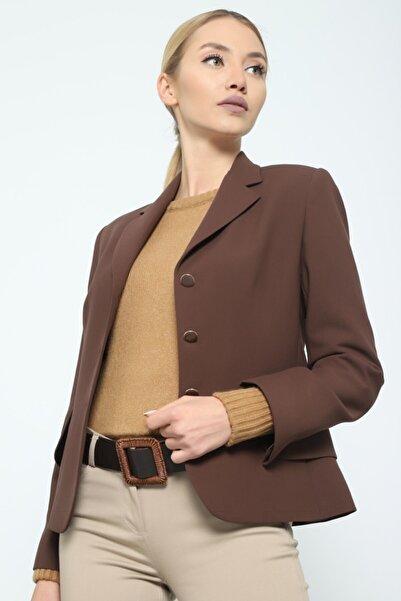 Journey Kadın Kahverengi Mono Yaka Geniş Kapak Cepli Ceket