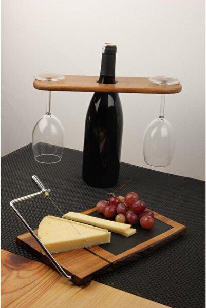 Globy Özel Tasarım 4 Parça 2 Kişilik Peynir Tabaklı,Şarap Servis Sunum Seti