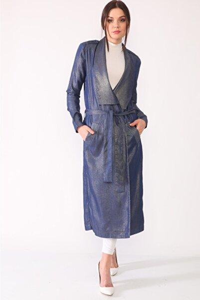 loopw Kadın Mavi Varak Baskılı Jean Pardesü