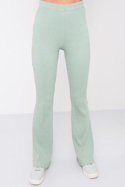 BSL Fashion Kadın Mint Yüksek Bel Lastik Detaylı Pantolon