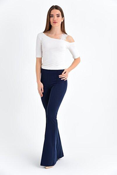 Jument Kadın Lacivert Yüksek Bel Önü Arka Dikişli İspanyol Pantolon