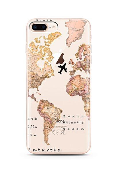 Spoyi Iphone 8 Plus Transparan Harita Tasarım Süper Şeffaf Silikon Telefon Kılıfı