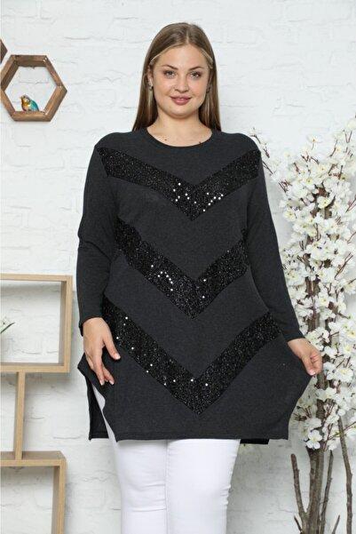 VAOV Kadın Siyah Ön Kısım V Şeklinde Taş Detaylı Uzun Kol Tunik
