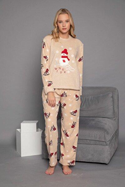 ELİTOL Kadın Bej 1710 Peluş Welsoft Polar Kışlık Ev Pijama Takımı