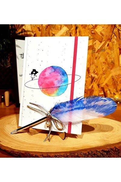 by rk tasarım Satürn Kız Anı Defteri Ve Tüy Kalem Arkadaşa Hediye