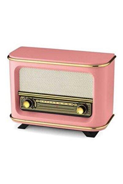 Nostaljik Ahşap Radyo Pembe Istanbul Modeli + 1 Adaptör + 1 Pil