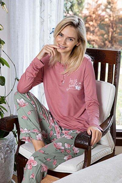 Mossta Kadın Gül Kurusu Yaka Düğmeli Viskon Pijama Takımı