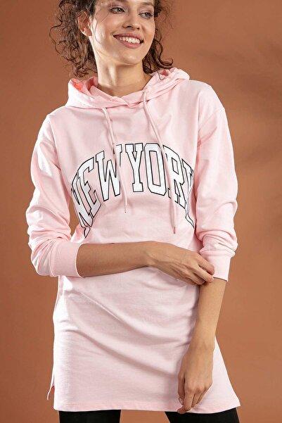 Y-London Kadın Pembe New York Baskılı Kapüşonlu Örme Sweatshirt Y20W155-6063