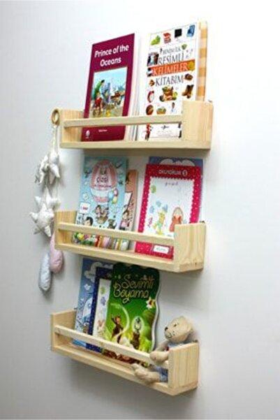 Babyroom 3'lü Montessori Kitaplık 60 Cm Duvar Rafı Bebek Çocuk Odası Ahşap Kitaplık