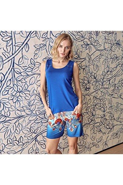 Anıl Kadın Saks Mavi T-shirt, Şort Takım Man9581 M