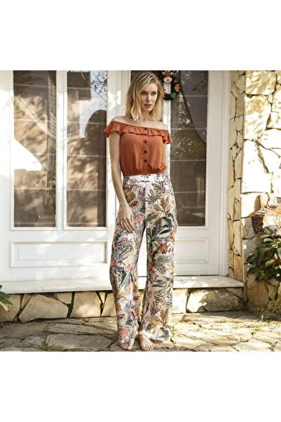 Anıl Kadın Kiremit Kısa Kol T-shirt, Pantolon Takım Man9649  L
