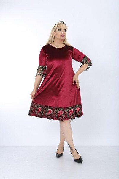 Şirin Butik Kadın Kırmızı Büyük Beden Çiçek Detaylı Kadife Elbise