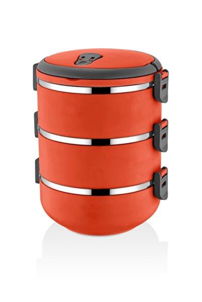 FreshBox Yeni Renk Turuncu 3 Katlı Sızdırmaz Yemek Termosu Sefer Tası
