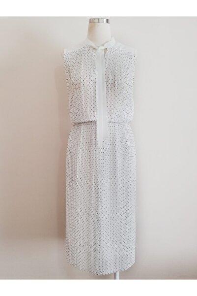 Vekem Kadın Beyaz Yakası Bağlamalı Piliseli Elbise