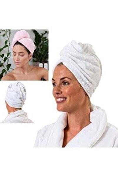 %100 Pamuk 2 Adet Düz Eponj Düğmeli Havlu Saç Kurulama Bonesi