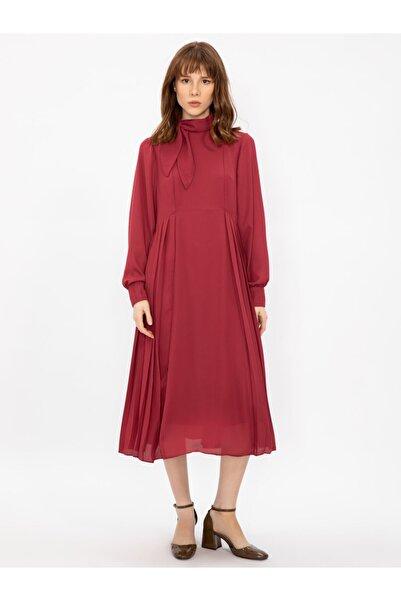 Vekem Kadın Bordo Yakası Bağlamalı Uzun Kollu Midi Elbise