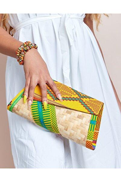 TheAfricanOutletUS Kadın Sarı Desenli Abiye Çanta