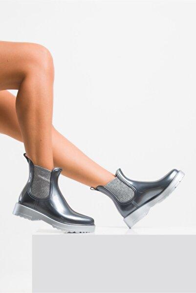 Ataköy Ayakkabı Kadın Platin Pu Yağmur Botu