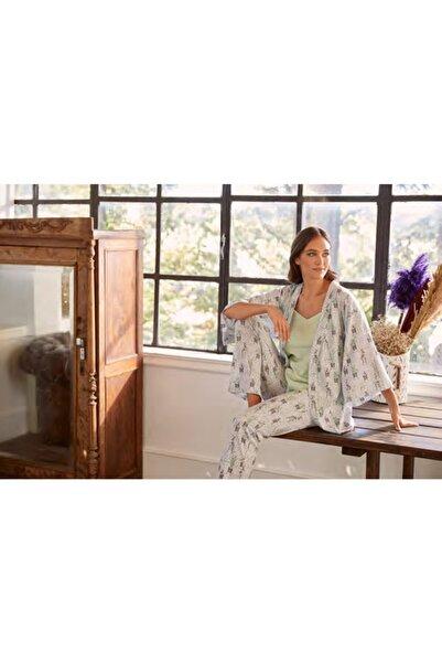 Eros Kadın Mint Yeşili Kaktüs Çicek Sabahlıklı Pijama Takımı -Esk27532