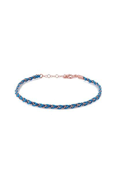 MySilvers Kadın Mavi Örme Gümüş Halhal