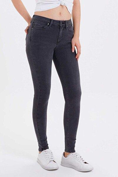 Loft Kadın Gri Skinny Orta Bel Jean