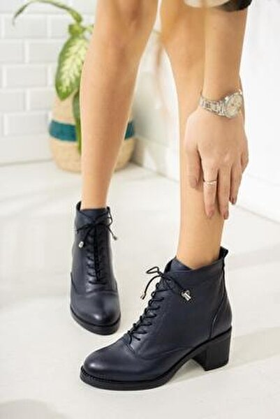 Kadın Lacivert Topuklu Bot
