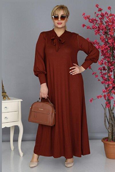 Şirin Butik Kadın Büyük Beden Kiremit Renk Kravat Yaka Detaylı Viskon Elbise