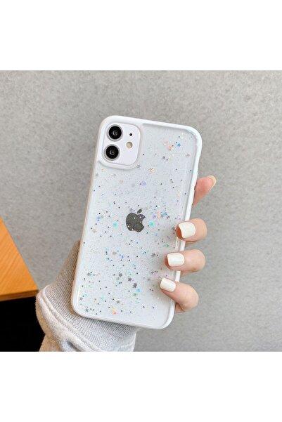 LIME CASES Apple Iphone 12 12 Pro 6.1 Kenarı Beyaz Simli Yıldızlı Şık Şeffaf Telefon Telefon Kılıfı