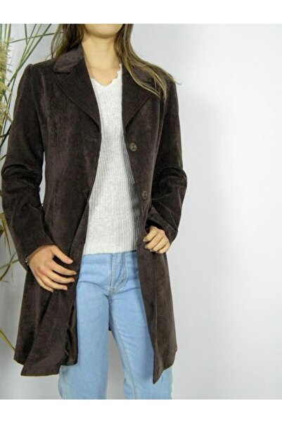 Eflatun Kadın Kahverengi Kadife Ceket