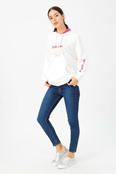 Loft Kadın Skinny Fit Taşlı Mavi Jean